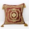 46cm Square Terracotta And Gold Crushed Velvet Cushion With Tassels (Y)