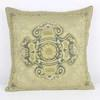 Square Duck Egg Blue Cushion With Gold Embroidered Decor (Y)