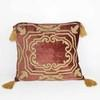 Terracotta And Gold Crushed Velvet Cushion With Tassels (Y)