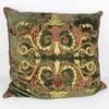 60cm Square Khaki Crushed Velvet Cushion With Red & Gold Decoration (Y)