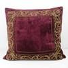 60cm Square Crushed Velvet Claret Cushion With Gold Embroidered Border (Y)