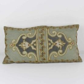 Duck Egg Blue Rectangular Embroidered Cushion