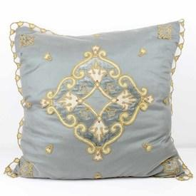 Grey Net And Velvet Embroidered Bed Cushion