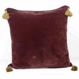 Wine Coloured Velvet Plain Cushion with Gold Tassels