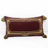 Small Rectangular Wine Coloured Velvet Cushion With Gold Embroidery Amd Tassel Corners (Y)