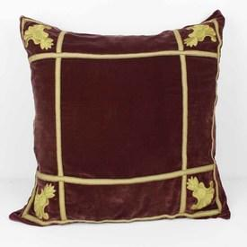 Square Wine Coloured Velvet Cushion with Gold Lines And Crest Corners