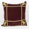 Square Wine Coloured Velvet Cushion With Gold Lines And Crest Corners (Y)