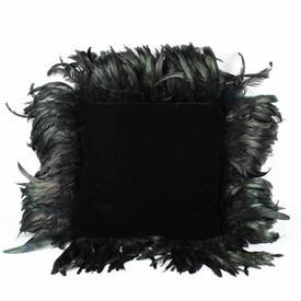 Black Velvet Cushion with Black Ostrich Feathers