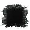Black Velvet Cushion With Black Ostrich Feathers  (Y)