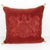 Red Damask Cushion With Crest And Gold Cord  (Y)