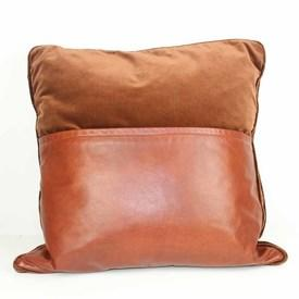 Brown Leather And Velvet Scatter Cushion  (Y)