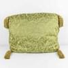 "20"" X 15"" Gold / Green Damask Patt Cushion With Gold Tassle (Y)"