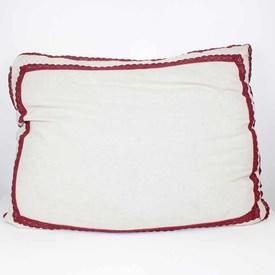 """35""""  x  24"""" Cream Cloth Cushion with Pink Embroidery Trim"""