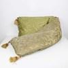 "7'3"" Gold & Green Damask Patt Bolster/Cushion With Gold Tassels (Y)"