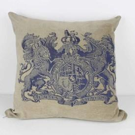 Fawn Cushion with Blue Pattern Coat Of Arms