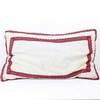 "28"" X 16"" Cream Cloth Cushion With Pink Embroidery Trim  (Y)"