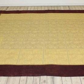 "8'10""  x  7'8""  Burgundy Border & Gold Brocade Bedcover"