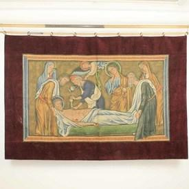 """6'10""""  x  4'7"""" Religious Tapestry Of Saint on Death Bed with Red Velvet Border"""