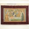 "6'10"" X 4'7"" Religious Tapestry Of Saint On Death Bed With Red Velvet Border (Y)"