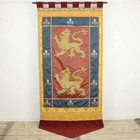 "8'  x  3'6"" Yellow, Blue & Red Banner with Lion & Fleur De Lis Pattern"