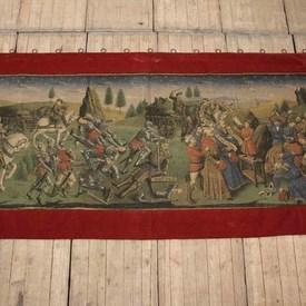 """9'4"""" X 4'10"""" Red Velvet Border Tapestry 0f Battle  (Y)"""