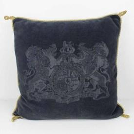 Blue Velvet Cushion with Coat Of Arms & Gold Cord