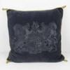 Blue Velvet Cushion With Coat Of Arms & Gold Cord  (Y)