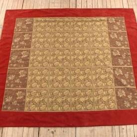 9'  x  7'8 Red Velvet Border Gold Leaf Patt Tapestry