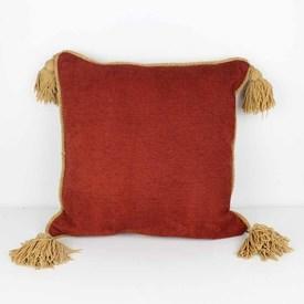 "18"" Terrcotta Cord Cushion with Gold Tassel"