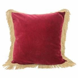 """18"""" Red Velvet  Cushion with Gold Fringe"""