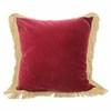 "18"" Red Velvet  Cushion With Gold Fringe  (Y)"