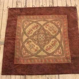 """4'6""""  x  4'6"""" Red & Gold Celtic Tapestry"""