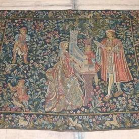 "5'  x  4'2"" Blue & Red Floral Tapestry Of Lady Playing Organ"