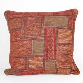"""Square 21"""" Red & Rust Embossed Abstract Pattern Cushion  (Y)"""
