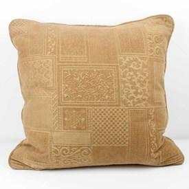 """Square 21"""" Beige Embossed Abstract Pattern Cushion"""