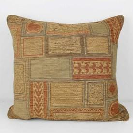 """Square 21"""" Beige & Rust Embossed Abstract Pattern Cushion"""