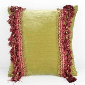 """16"""" Square Green Velvet Cushion with Tassels"""
