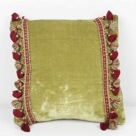 """11"""" Square Green Velvet Cushion with Tassels"""