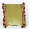 "11"" Square Green Velvet Cushion With Tassels  (Y)"