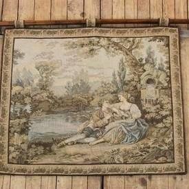 """3""""4"""" X 2""""8"""" Wall Hanging Tapestry Illustrating Lady & Gent With Flute, Next To Lake. (Y)"""