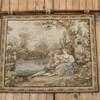 "3""4"" X 2""8"" Wall Hanging Tapestry Illustrating Lady & Gent With Flute, Next To Lake. (Y)"