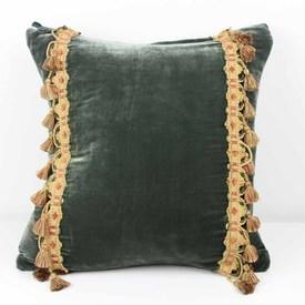 "16"" Square Teal Velvet Cushion with Tassels"