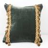 "16"" Square Teal Velvet Cushion With Tassels  (Y)"