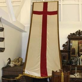 """13'  x  4'4"""" Long, St George Cross Banner with Gold Braid Border & Two Large Tassels"""
