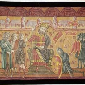 """5'8"""" X 4' Painted Tapestry Of King & Knights  (Y)"""