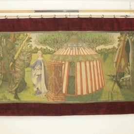 """4'10""""X 9'8"""" Jouster, Maiden & Medieval Pavillion Tapestry With Burgundy Border (Y)"""