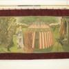 "4'10""X 9'8"" Jouster, Maiden & Medieval Pavillion Tapestry With Burgundy Border (Y)"