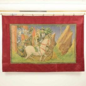 "4'7"" x  6'9"" King on White Horse with Knights Painted Tapestry with Red Border"