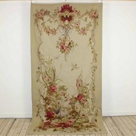 "3'11""  x  7'11"" Gold & Cream Aubusson Panel with Floral Bouquet & Partridge"