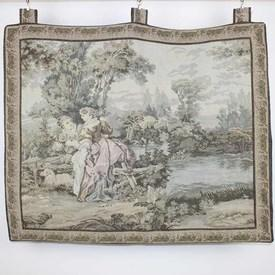 """3'4"""" X 2'11"""" Wall Hanging Tapestry Illustrating Lady & Gent Sitting With Lamb. (Y)"""